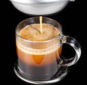 Expresso Coffee in glass cup — Stock Photo
