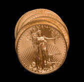 Stack of golden eagle coins — Stock Photo