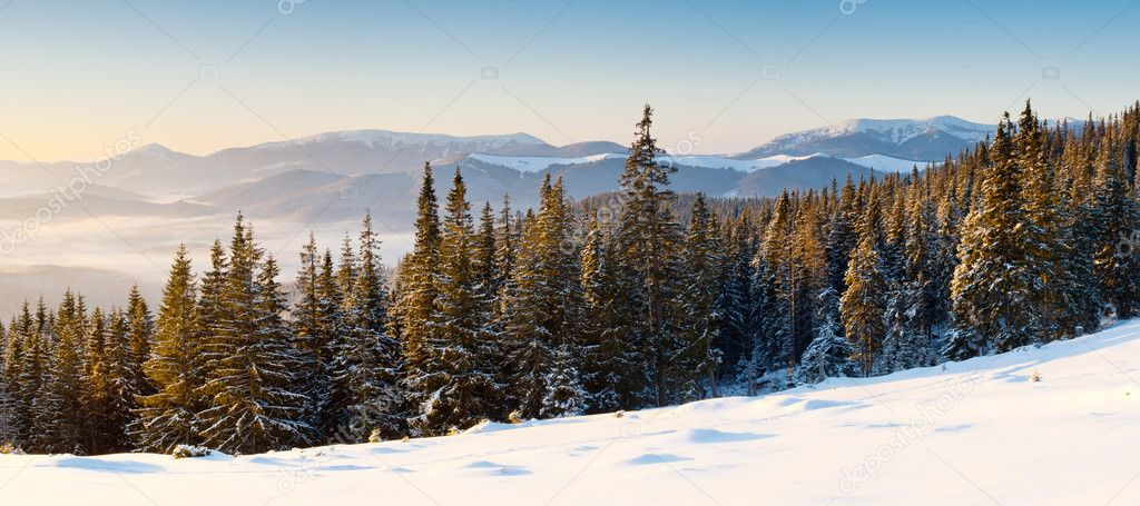 A frosty and sunny day is in mountains — Stock Photo #6861582