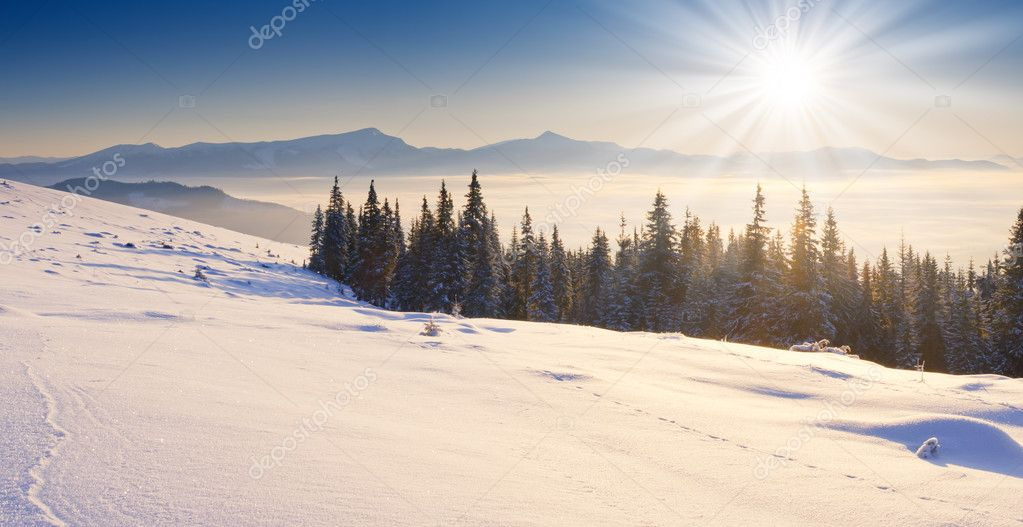 A frosty and sunny day is in mountains — Stock Photo #6861590