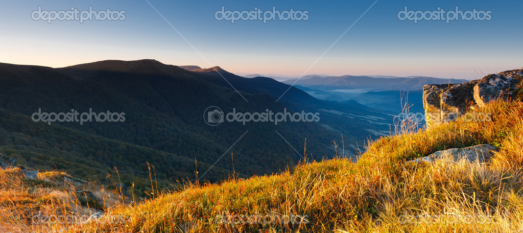 Majestic sunrise in the mountains landscape. HDR image — Stock Photo #6862142