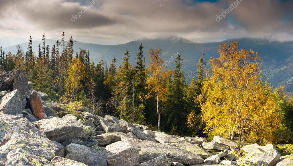 The mountain autumn landscape with colorful forest — Stock Photo #6862182