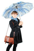 Woman with a blue umbrella — Stock Photo