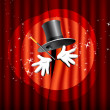 Theater stage with top hat, magic wand and hand — Stock Vector #7947081