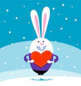 Rabbit with big heart — Stock Vector