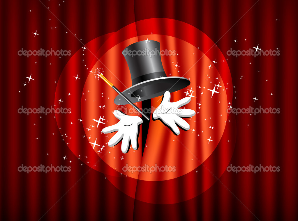 Magical presentation with top hat, magic wand and hand — Stock Vector #7947081