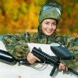 Stock Photo: Girl paintball player