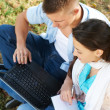 Two young students outdoors — Stock Photo