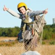 Parachute jumper after landing - Stockfoto