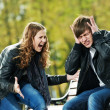 Anger in young relationship conflict - Stock Photo