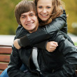 Smiling young couple outdoors — Stock Photo #7106860