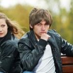 jovem casal no relacionamento do stress — Foto Stock