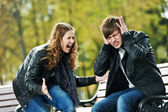 Anger in young relationship conflict — Stock Photo