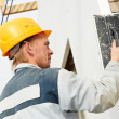 Builder facade plasterer worker — Stock Photo