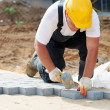 Sidewalk pavement construction works — Stock Photo