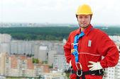 Konstruktor robotnik na budowie — Zdjęcie stockowe
