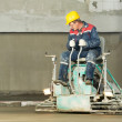 Worker trowelling and finishing of concrete — Stock Photo #7142002