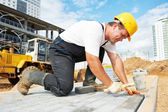 Sidewalk pavement construction works — Stockfoto
