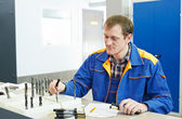 Inspector worker at factory manufacturing — Foto Stock