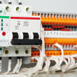 Electrical fuseboxes and power lines switchers - Stock Photo