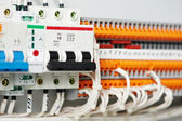 Electrical fuseboxes and power lines switchers — Stock Photo