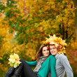 Couple at autumn outdoors — Stock Photo #7324397