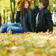 图库照片: Couple at autumn outdoors