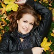 Foto Stock: Womat autumn outdoors