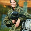 Girl paintball player — Stock Photo