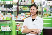 Pharmacy chemist woman in drugstore — Stock Photo