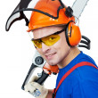Lumberjack Worker With Chainsaw Isolated — Stock Photo