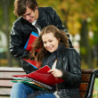 Two smiling young students studying outdoors — Stock Photo #7769866