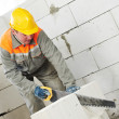 Photo: Construction mason worker bricklayer
