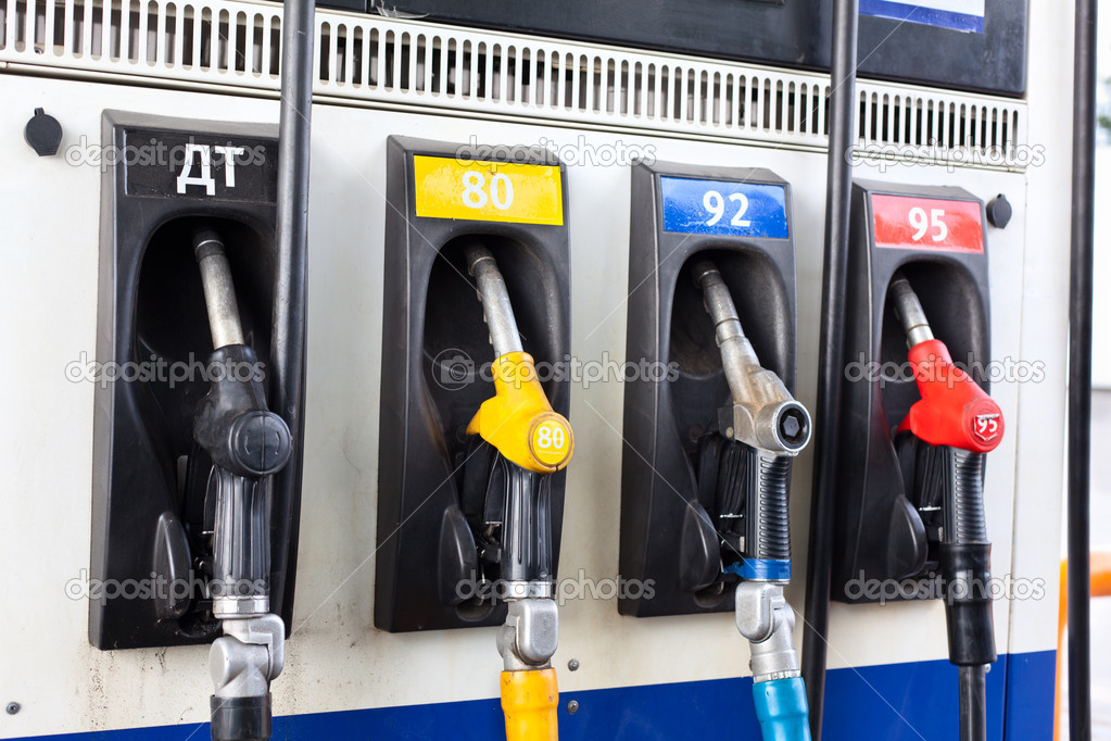 Refueling nozzle in gas station. Close up — Stock Photo #7234941
