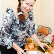 Young woman making sandwiches — Stock Photo