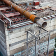 Above-ground gas, oil and heat pipes rack in factory area. Aerial view — Stock Photo #7581932