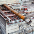 Above-ground gas, oil and heat pipes rack in factory area. Aerial view — Stock Photo #7581933