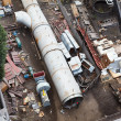 Above-ground gas, oil and heat pipes rack in factory area. Aerial view — Stock Photo