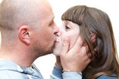 Loving couple kissing and embracing together — Stock Photo
