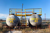 Chemical storage tank with sulfuric acid — Stock Photo