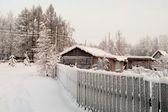 Winterseizoen in Russische dorp — Stockfoto