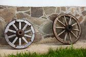 Old-fashioned wagon wheels — Stock Photo