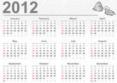 Full 2012 calendar with butterflies — Stock Photo