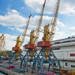 Three old port cranes — Stock Photo