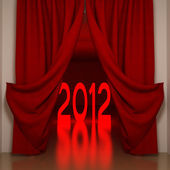 2012 y cortinas rojas — Foto de Stock