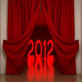 Rode gordijnen en 2012 — Stockfoto