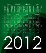 Calendario verde 2012. vector — Vector de stock