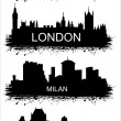 Detailed vector silhouettes of world cities — Stock vektor