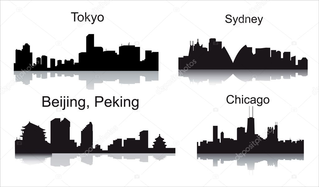 Detailed vector silhouettes of world cities  — Stock Vector #7376074