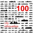 Detailed vector silhouettes of world cities — Stok Vektör
